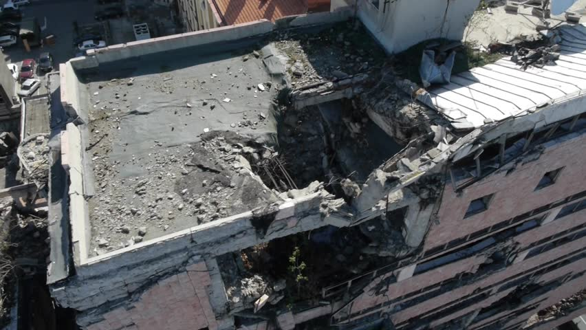 Aerial view on Serbian military headquarter building in the center of Belgrade bombed by NATO in 1999.