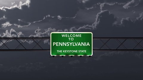 4K Passing under Welcome to Pennsylvania State Border USA Interstate Highway Sign at Night with Matte Photorealistic 3D Animation 4K 4096x2304 ultra high definition