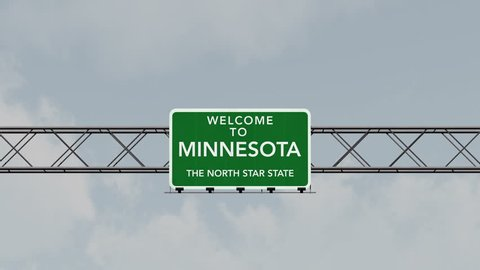 4K Passing under Welcome to Minnesota State USA Interstate Highway Sign with Matte Photo Realistic 3D Animation 4K 4096x2304 ultra high definition