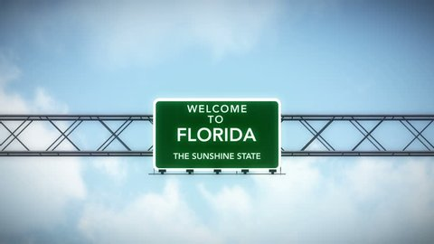 4K Passing under Welcome to Florida State USA Interstate Highway Sign with Matte Photo Realistic 3D Animation 4K 4096x2304 ultra high definition