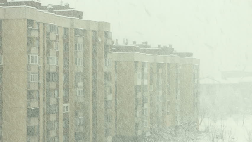 Heavy snow falling in Sarajevo. filmed with Blackmagic 4K Production Camera #9174116