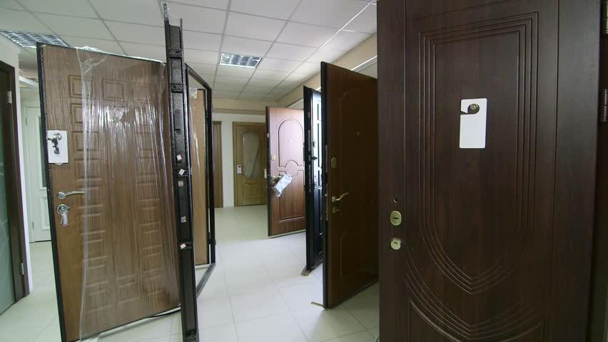 Door store showroom - internal and external doors pan shot - HD stock footage clip & Door Store Showroom - Internal And External Doors Pan Shot Stock ... Pezcame.Com