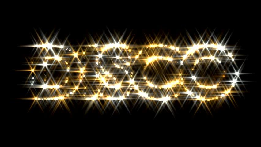 Disco logo text sparkling glitter gold silver