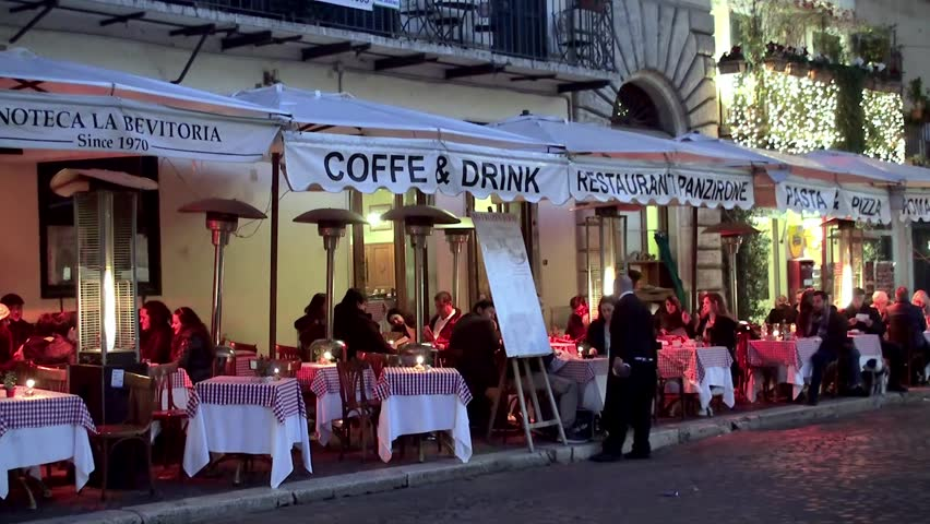 ROME, - JANUARY 10: Open air restaurant on the Piazza Navona at night. January 10, 2015 in  Rome, Italy