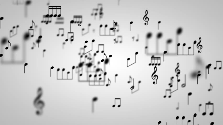 Music note particles world with alpha channel