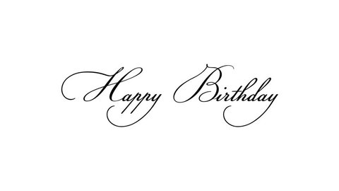 Happy Birthday calligraphy text animation, alpha channel. Premium 4k quality is available.