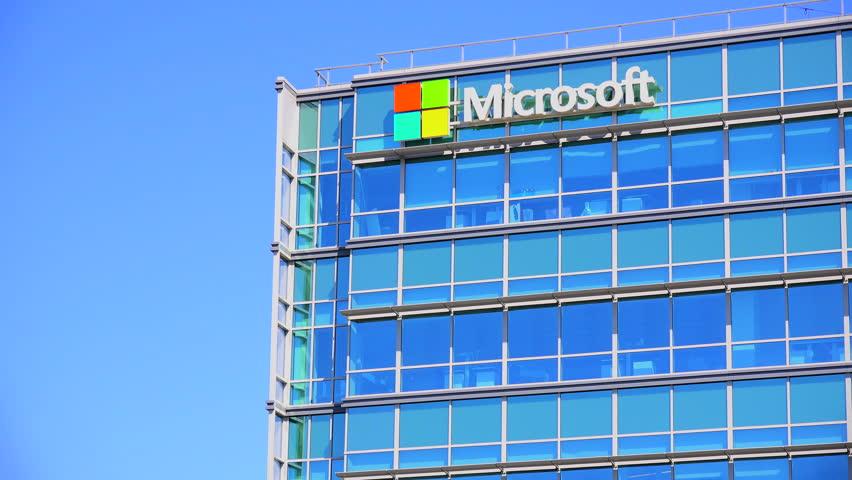 SILICON VALLEY, CALIFORNIA - CIRCA 2014 - Establishing shot of Microsoft Headquarters in silicon valley, California.