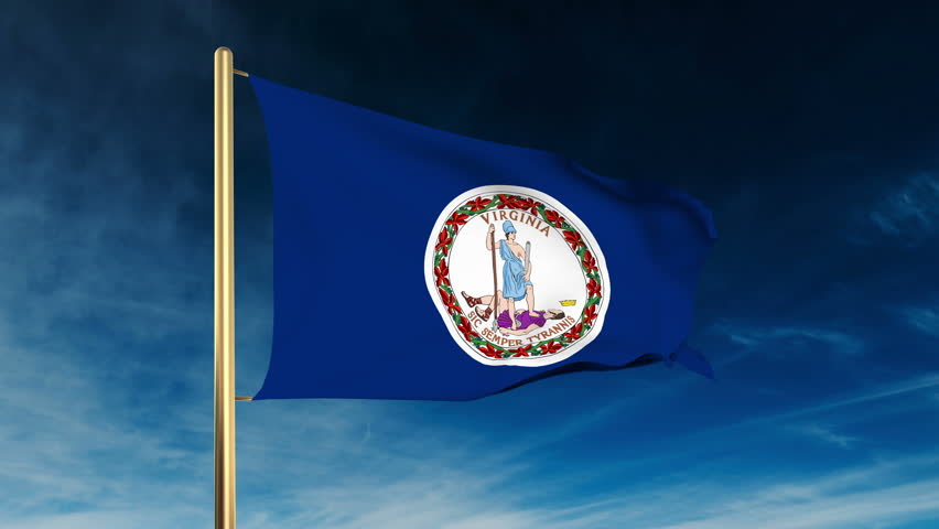 Virginia Flag Slider Style. Waving In The Win With Cloud ...