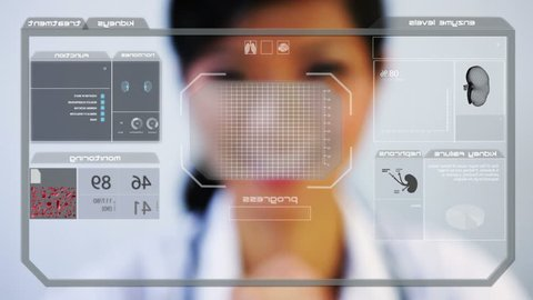 medical laboratory health motion graphics touch screen technology kidney Chinese