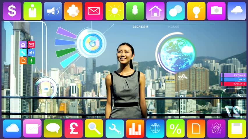 Business Motion Graphics Asian roof Touchscreen analysis Global data technology | Shutterstock HD Video #9277016