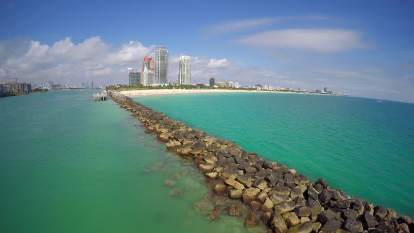 4k Aerial Video Miami Beach Rock Jetty And Pier At South Stock Footage 9289166 Shutterstock