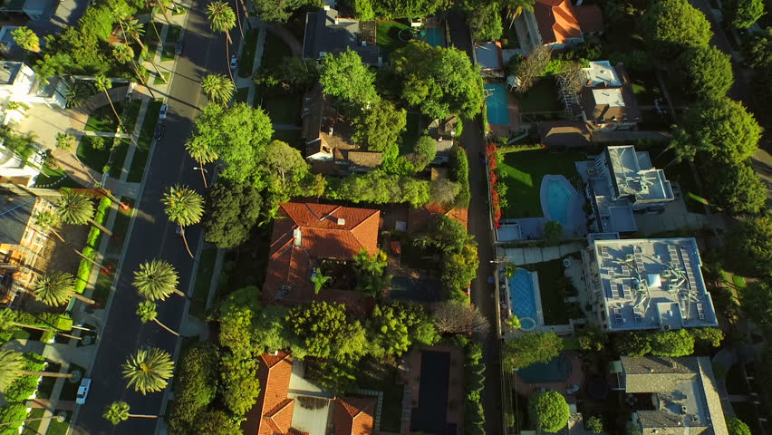 Los Angeles Aerial Beverly Hills v58 Low flying vertical aerial over Beverly Hills neighborhood. 2/24/15