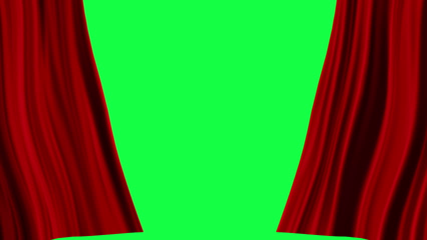 Red Curtains open, isolated on green screen