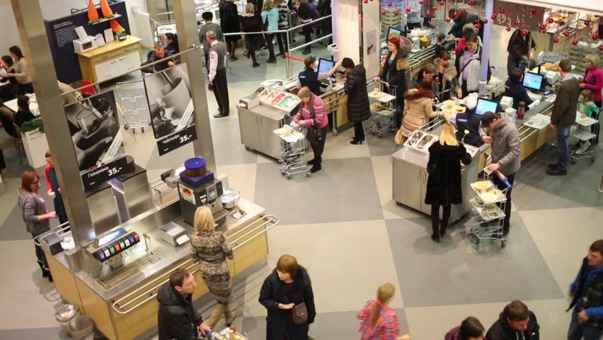 samara russia jan 05 customers on food court in ikea in