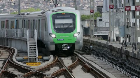 Mumbai, India: March 15, 2015:Latest Mumbai Metro train transport facility. Comfortable, modern , fast, new & first air conditioned way of local rail transport in Mumbai India, shot on March 15, 2015.