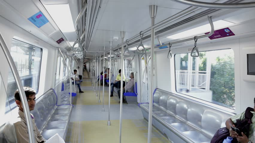 Mumbai, India: March 15, 2015:Latest Mumbai Metro train transport facility. Comfortable, modern , fast, new & first air conditioned way of local rail transport in Mumbai India, shot on March 15, 2015. | Shutterstock HD Video #9323156