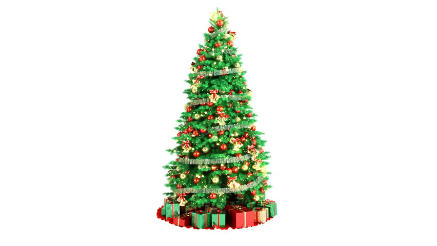 Stock Video Clip Of Christmas Tree On White Background With Alpha