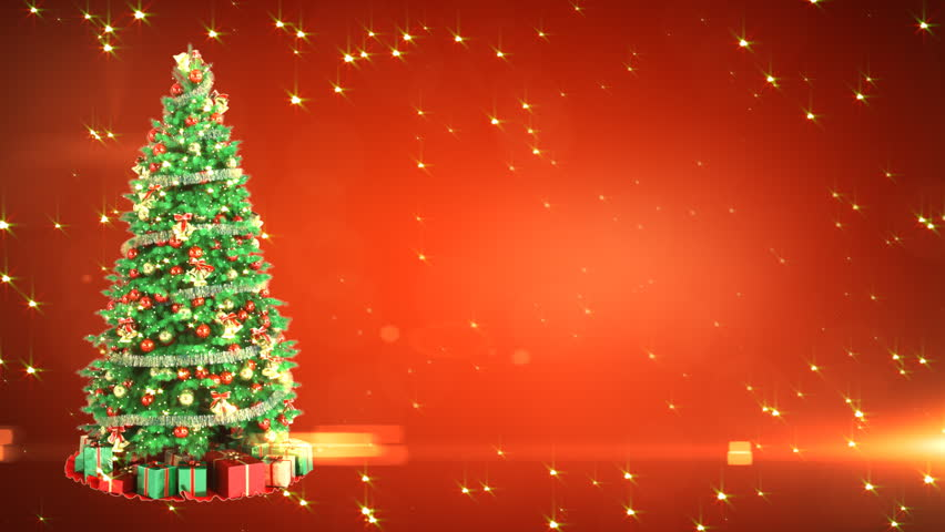 Christmas Tree On Red Background with place for your text. Loop