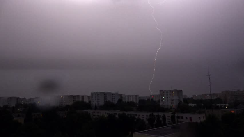 4K Lighting Thunderbolt Over Buildings In City Town Summer Storm  Rainy Stormy Dark Night Raining In The Evening In Downtown Stock Footage Video ... & 4K Lighting Thunderbolt Over Buildings In City Town Summer ... azcodes.com