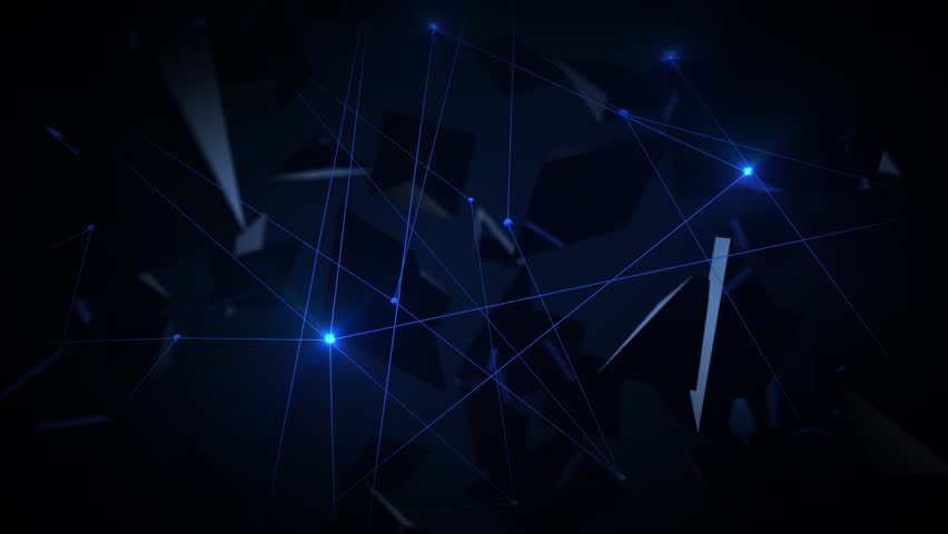 Abstract flat surface 3d animation. Blue dots connection on dark background