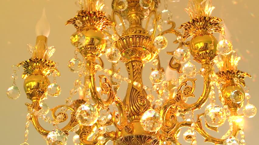 Golden Chandelier Stock Footage Video | Shutterstock:Gold chandelier with crystal balls. High speed camera shot. Full HD 1080p.,Lighting