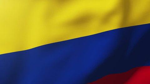 Colombia flag waving in the wind. Looping sun rises style.  Animation loop