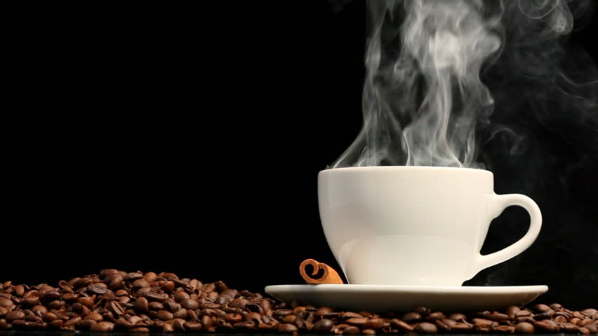 Cup of coffee on black background