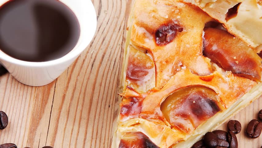 Baked Food Le Pie On Wooden Table Served With Coffee Cup And Cinnamon Sticks 1920x1080