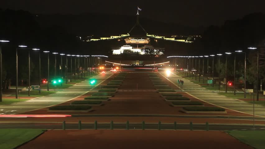 Capital Hill night traffic timelapse, Located in Canberra the capital city of Australia. The city is located at the northern end of the Australian Capital Territory ACT.