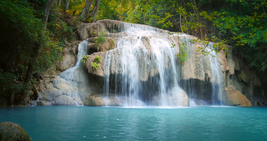Tropical paradise nature background idyllic waterfall for Waterfall environment