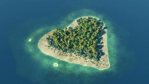 Heart shaped paradise island at ocean