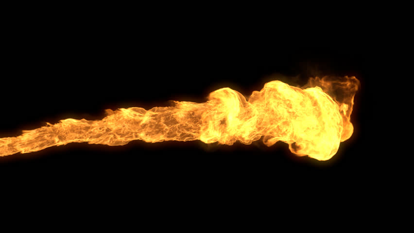 Realistic stream of fire like fire-breathing dragon's flames with alpha.