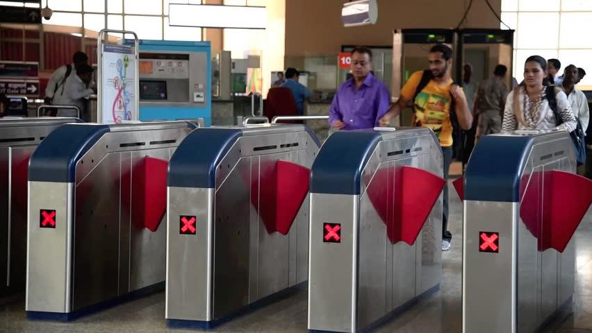 MUMBAI, MAHARASHTRA, INDIA - March 24, 2015: Mumbai Metro train entry area