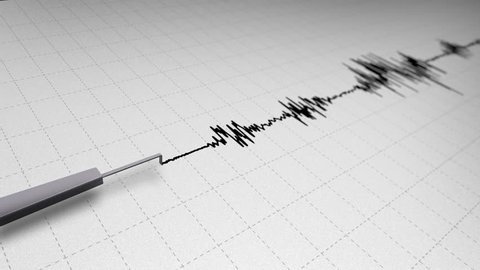 Seismograph Earthquake Recording on Grid Paper Loop