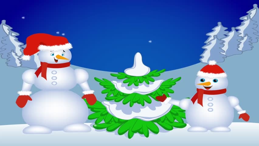 Snowman near Christmas tree. | Shutterstock HD Video #946546
