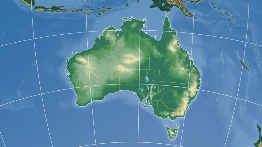 Map Of Australia Lakes.Queensland Extruded On The Physical Stock Footage Video 100 Royalty Free 9470546 Shutterstock