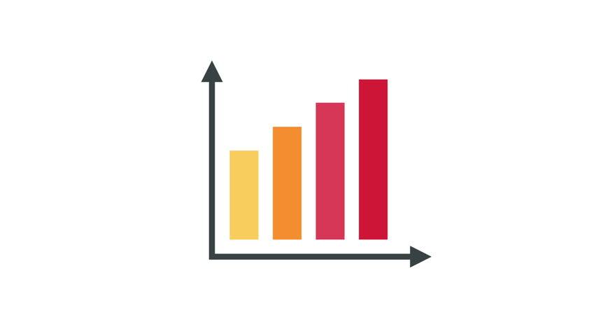 Business charts financial diagrams and statistic graphs colored animated icons set available in 4k UHD FullHD and HD 3d video animation footage