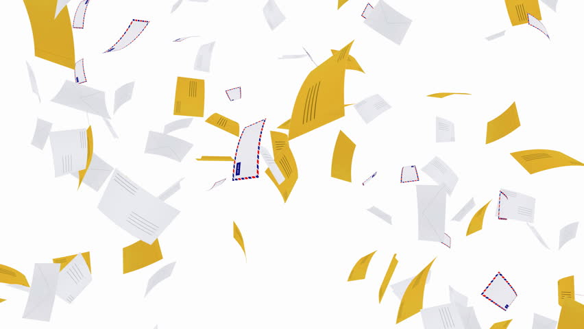 Envelopes falling - seamless loop, alpha