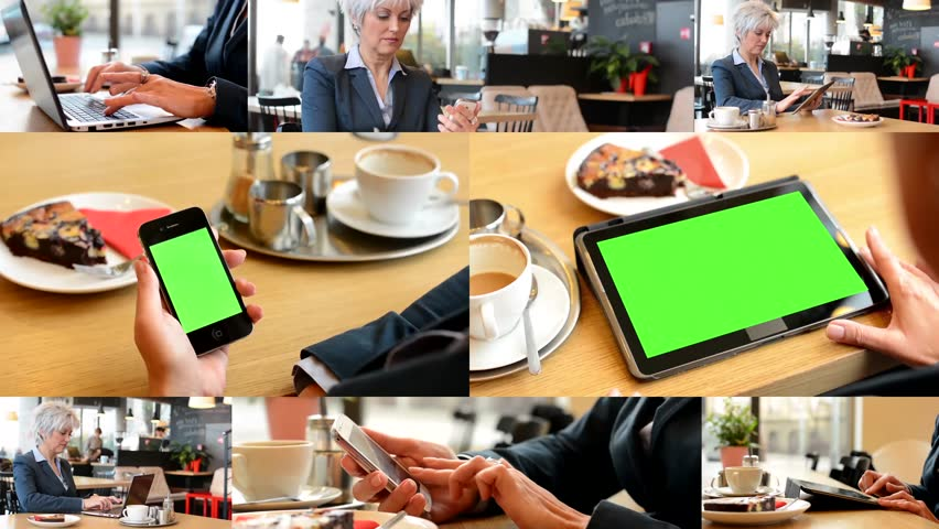 4K MONTAGE (8 VIDEOS) - technology devices green screen - business woman working in cafe - smartphone and tablet green screen | Shutterstock HD Video #9542816