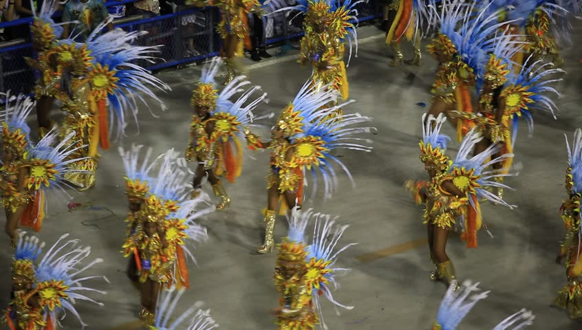 RIO DE JANEIRO, BRAZIl - FEBRUARY 16, 2015: Participants in the Carnival present their costumes during the Carnival, February 16, 2015 in Rio de Janeiro (Brazil)