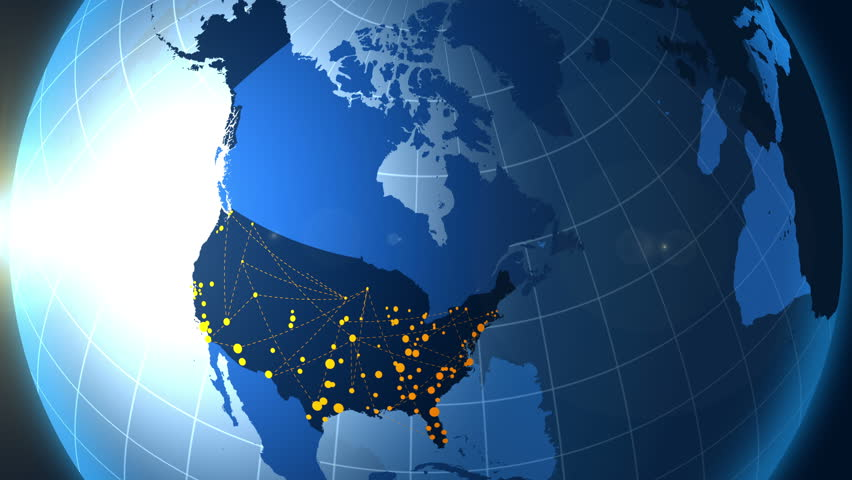 United States Of America And Its Metropolis On The Globe Stock - 4k image of us map