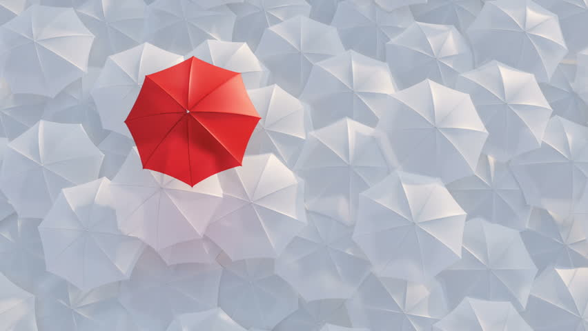 Red umbrella open and standing out from crowd mass white umbrellas, design background text concept, above point, with color mask | Shutterstock HD Video #9612836
