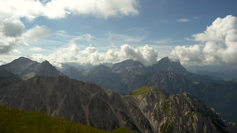 Mountain landscape and clouds, top of mountain, Italy, Alto Adige