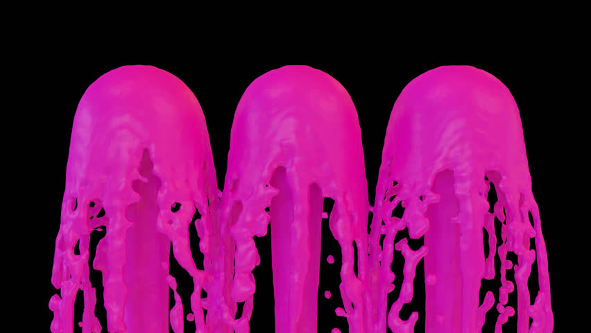 Animated fountains of pink or magenta paint 2. Transparent background (Alpha channel embedded with HD PNG file) | Shutterstock HD Video #9626546