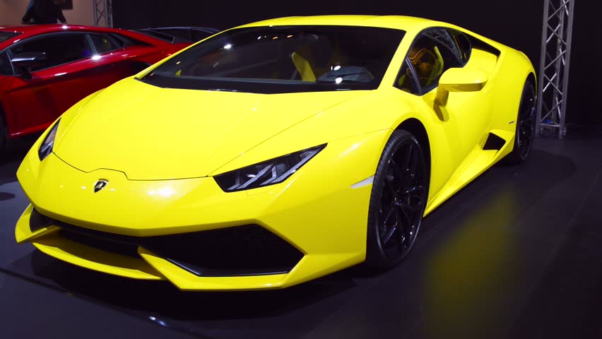 amsterdam the netherlands april 16 2015 yellow lamborghini huracan v10 mid engined