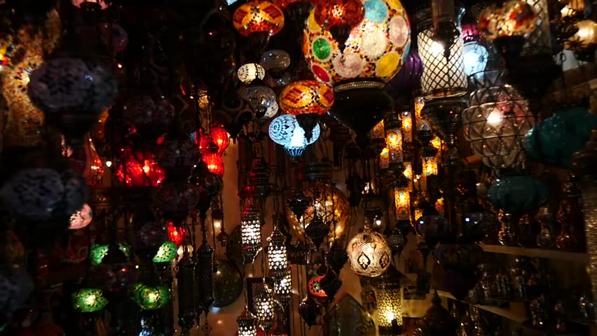 ISTANBUL - APRIL 06, 2015: Slow Motion scene in HD of colorful lamps in a souvernir shop at the Grand Bazaar April 06, 2015 in Istanbul, Turkey. | Shutterstock HD Video #9643124
