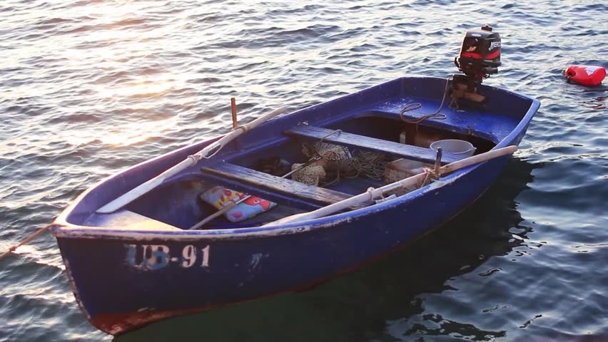 Small Fishing Boat Floating On Stock Footage Video (100% ...