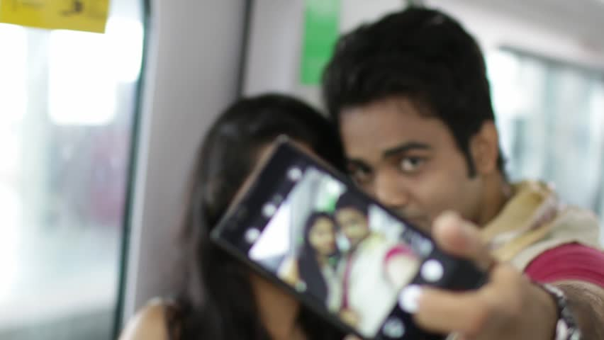 Young Indian Couple Inside Metro Stock Footage Video 100 -7060