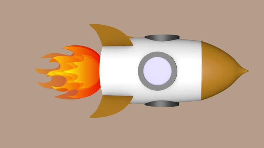 Two angles of a 3D toon rocket ship with corresponding alpha or matte clips.
