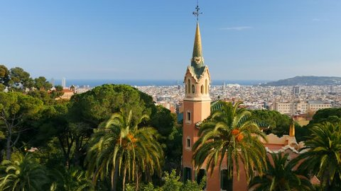 Panning shot of Barcelona skyline, view from Guell park